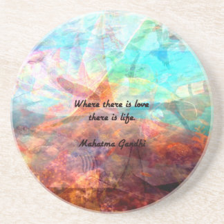 Gandhi Inspirational Quote about Love, Life & Hope Drink Coaster