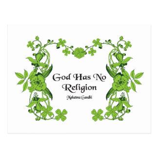 Gandhi Quote - God Has No Religion Postcard