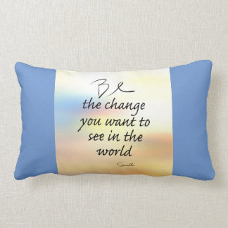 Gandhi quote throw pillow be the change on blue