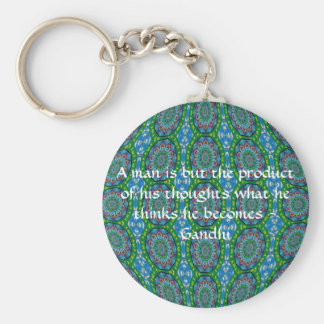 Gandhi Wisdom Quote With Primitive Tribal Design Key Ring