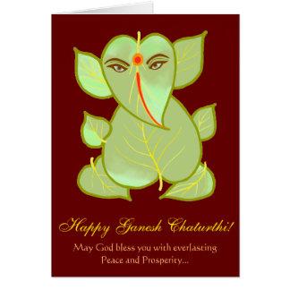 Ganesh Chaturthi Leaf Motif Festive Greetings Card