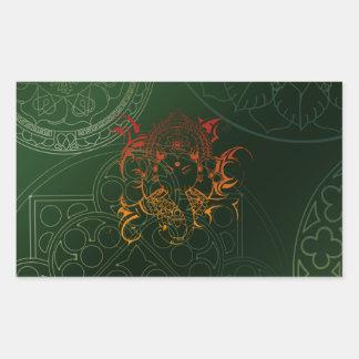 Ganesh Elephant Mandala orange green Yoga Asia Rectangular Sticker