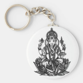 Ganesh Illustration Basic Round Button Key Ring