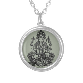 Ganesh Illustration Silver Plated Necklace
