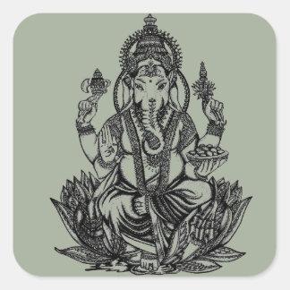 Ganesh Illustration Square Sticker