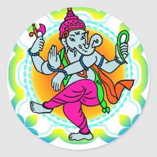 Ganesh in Rainbow colorful design Classic Round Sticker
