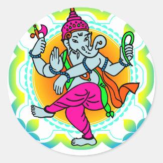 Ganesh in Rainbow colorful design Round Sticker