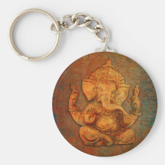 Ganesh On A Distress Stone Background Basic Round Button Key Ring