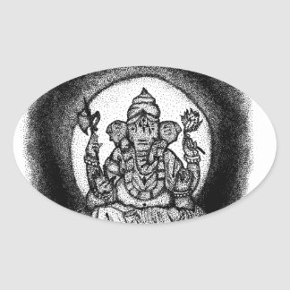 ganesh oval sticker