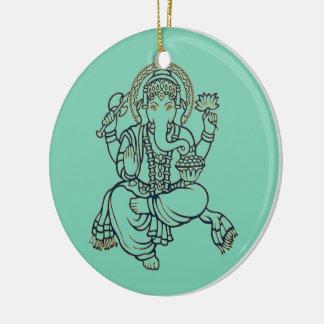 Ganesh Round Ceramic Decoration