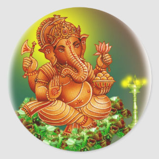 ganesh round sticker