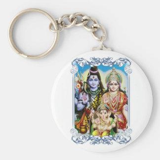 Ganesh, Shiva and Parvati, Lord Ganesha, Durga Basic Round Button Key Ring