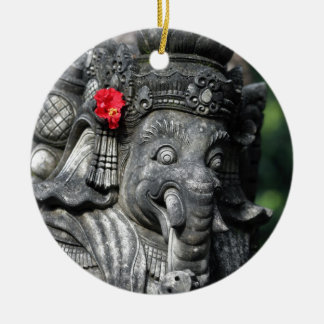 Ganesha elephant Hindu God Round Ceramic Decoration