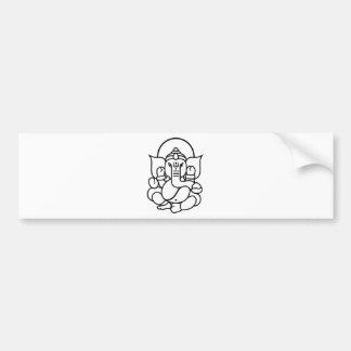 Ganesha Elephant No. 3 (black white) Bumper Sticker
