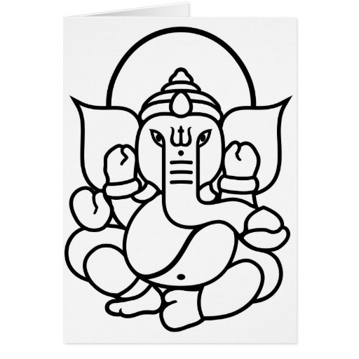 Ganesha Elephant No. 3 (black white) Cards