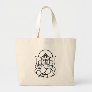 Ganesha Elephant No. 3 (black white) Large Tote Bag