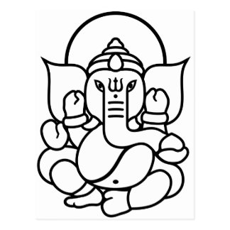 Ganesha Elephant No. 3 (black white) Postcard
