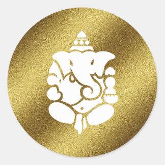 Ganesha Golden Glitter Round Sticker