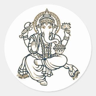 Ganesha Hindu Deity God Classic Round Sticker