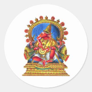 Ganesha Hindu Deity Round Sticker