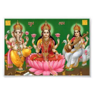 """Ganesha, Lakshmi, & Saraswati Print (6"""" x 4"""")"""