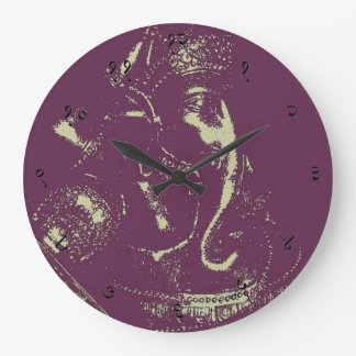 Ganesha (Purple) Sanskrit Wall Clock