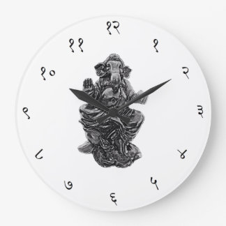 Ganesha Sanskrit Wall Clock Large Round (white)