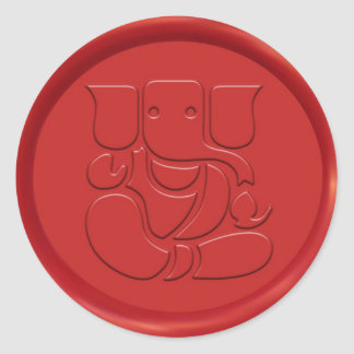 Ganesha Sign Wax Seal Round Sticker