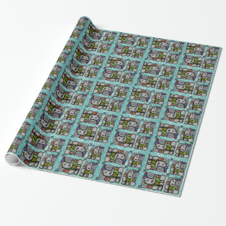 Ganesha Tiles On Turquoise Background Wrapping Paper