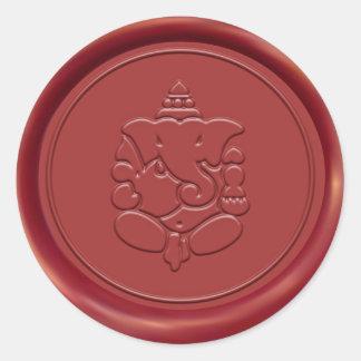 Ganesha Wax Seal Round Sticker