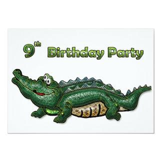Gang Green Gator 9th Birthday 13 Cm X 18 Cm Invitation Card