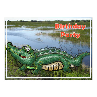 "Gang Green Gator in the Glades Birthday Invitation 5"" X 7"" Invitation Card"