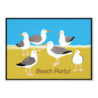 Gang of Seagulls at the Beach Party 13 Cm X 18 Cm Invitation Card