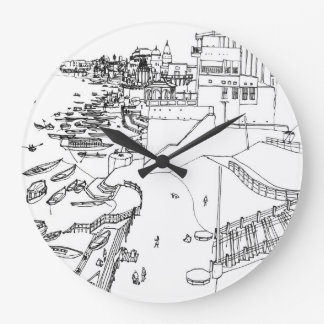 Ganges to river in Varanasi Large Clock