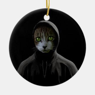 Gangsta cat ceramic ornament