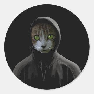 Gangsta cat classic round sticker