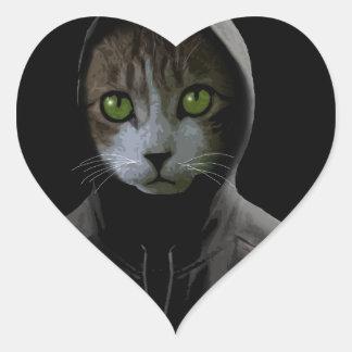 Gangsta cat heart sticker