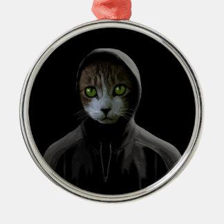 Gangsta cat metal ornament