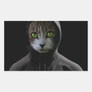 Gangsta cat rectangular sticker