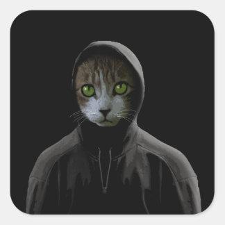 Gangsta cat square sticker