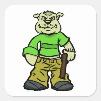 Gangsta dog square sticker