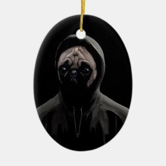 Gangsta pug ceramic ornament