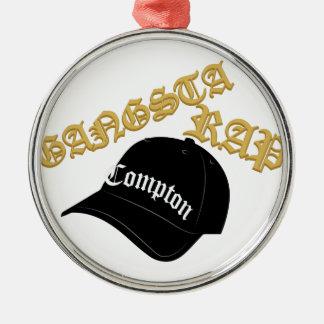 Gangsta Rap Silver-Colored Round Decoration