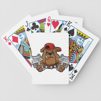 gangster bulldog  with pistols bicycle playing cards
