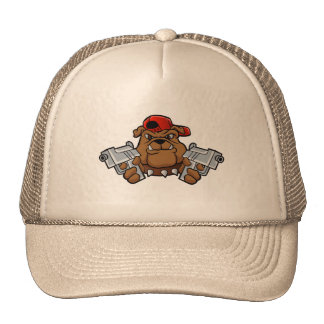 gangster bulldog  with pistols cap