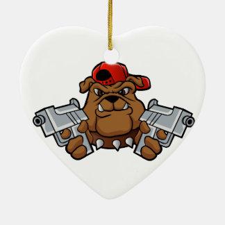 gangster bulldog  with pistols ceramic heart decoration
