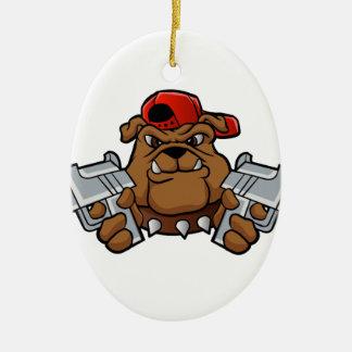 gangster bulldog  with pistols ceramic oval decoration