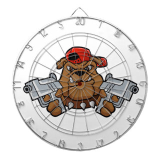 gangster bulldog  with pistols dartboard with darts