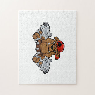 gangster bulldog  with pistols jigsaw puzzle