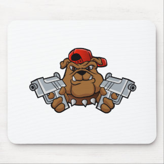 gangster bulldog  with pistols mouse pad
